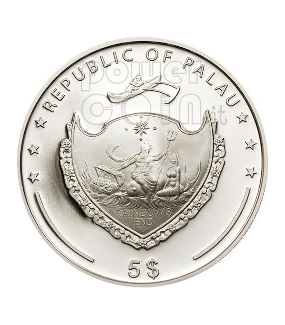 PEARL BLUE Jewels Of The Sea Marine Life Silver Coin 5$ Palau 2010
