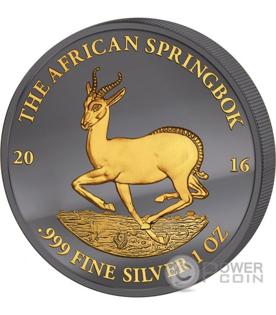 GOLDEN ENIGMA African Springbok Black Ruthenium 1 Oz Moneda Plata 1000 Francs Gabon 2016