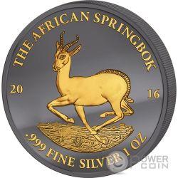 GOLDEN ENIGMA African Springbok Black Ruthenium 1 Oz Серебро Монета 1000 Франков Габон 2016