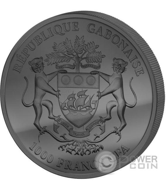 GOLDEN ENIGMA African Springbok Black Ruthenium 1 Oz Silber Münze 1000 Francs Gabon 2016