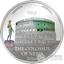 COLOSSUS OF NERO Holo Vision Colosseum Colosseo Ologramma 3 Oz Moneta Argento 5$ Niue 2016