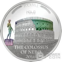 COLOSSUS OF NERO Holo Vision Colosseum Colosseo Ologramma 3 Oz Moneta Argento 5$ Niue 2016