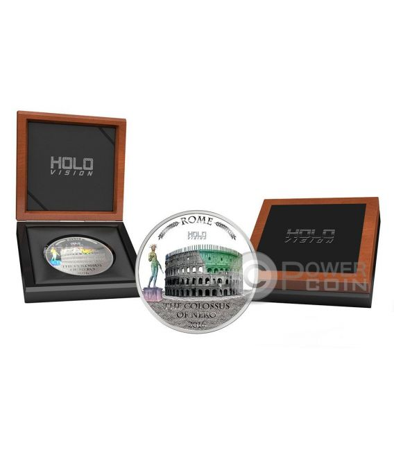 COLOSSUS OF NERO Holo Vision Colosseum Hologram 3 Oz Moneda Plata 5$ Niue 2016