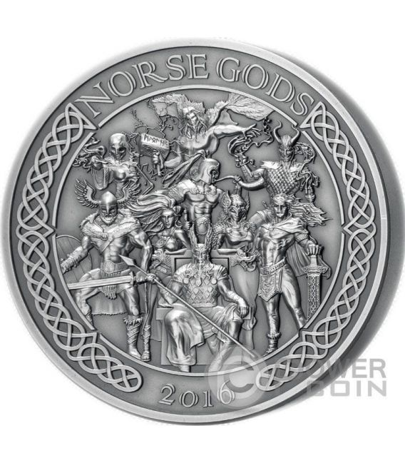 NORSE GODS High Relief 5 Oz Silber Münze 25$ Cook Islands 2016