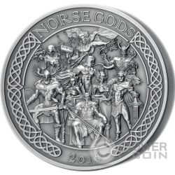 NORSE GODS High Relief 5 Oz Silver Coin 25$ Cook Islands 2016