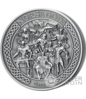 NORSE GODS High Relief 5 Oz Silver Coin 25$ Cook Islands 2016