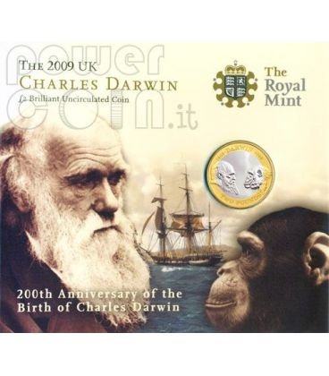 DARWIN Charles 200 Anniversario Moneta BU £2 UK Royal Mint 2009