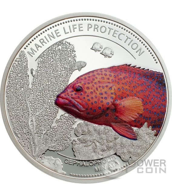 CORAL HIND Marine Life Protection Cooper Plata Plated Moneda 1$ Palau 2016