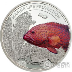 CORAL HIND Marine Life Protection Cooper Silver Plated Coin 1$ Palau 2016