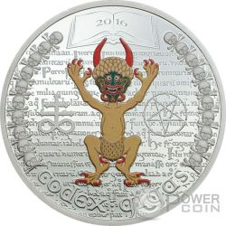 CODEX GIGAS Devil Bible The Dark Side 1 Oz Silver Coin 1000 Francs Equatorial Guinea 2016