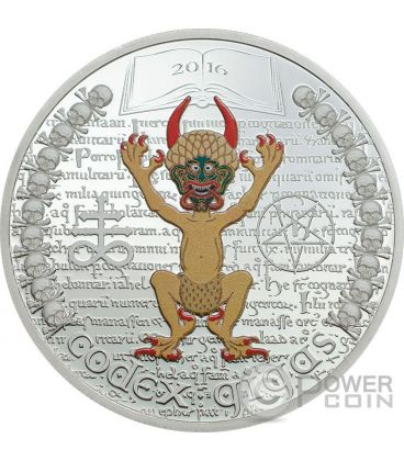 CODEX GIGAS Devil Bible Libro Gigante The Dark Side 1 Oz Moneta Argento 1000 Franchi Guinea Equatoriale 2016