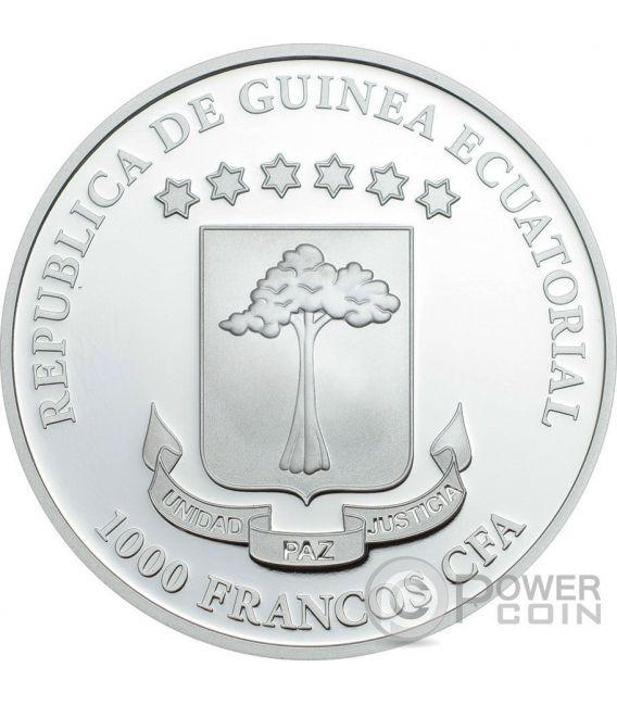 CODEX GIGAS Devil Bible The Dark Side 1 Oz Moneda Plata 1000 Francs Equatorial Guinea 2016