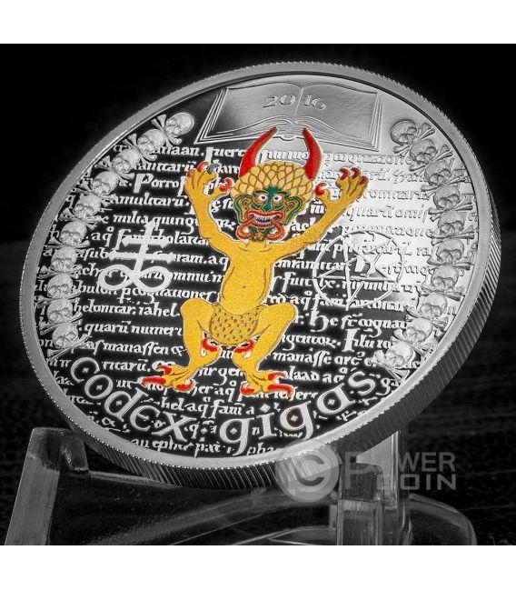 CODEX GIGAS Devil Bible The Dark Side 1 Oz Silber Münze 1000 Francs Equatorial Guinea 2016