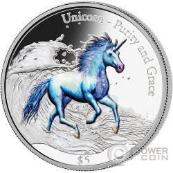 UNICORN Unicorno Purity and Grace 3 Oz Moneta Argento 5$ Fiji 2016