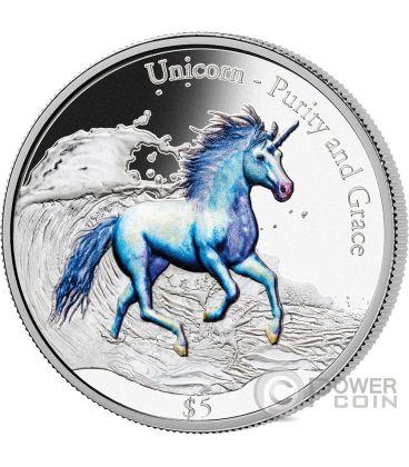 UNICORN Unicorno Purity and Grace 3 Oz Moneta Argento 5$ Fiji 2016