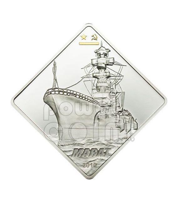 MARAT Soviet Battleship 2 Oz Silver Coin 10$ Palau 2010