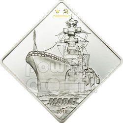 MARAT Nave Corazzata Russa Moneta Argento 2 Oz 10$ Palau 2010