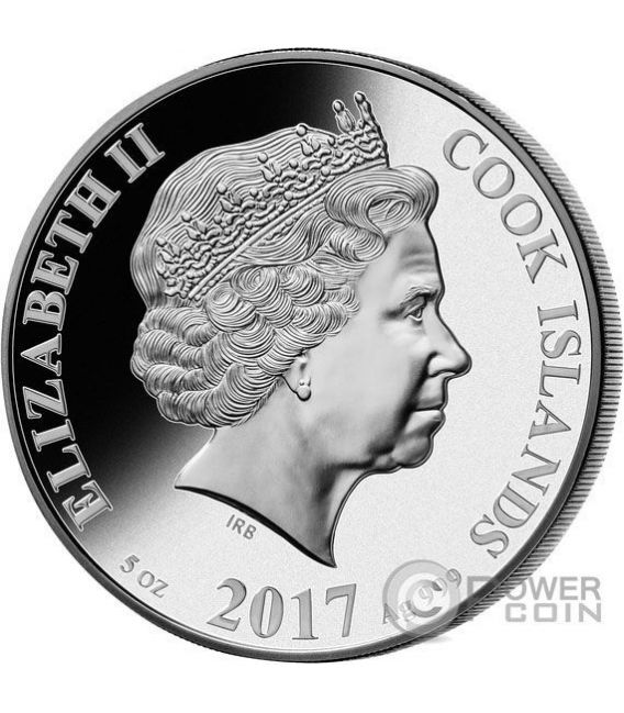 ROOSTER MOTHER OF PEARL Lunar Year Series 5 Oz Silver Coin 25$ Cook Islands 2017