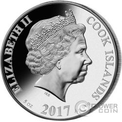 GALLO MADREPERLA Rooster Lunar Serie 5 Oz Moneta Argento 25$ Cook Islands 2017