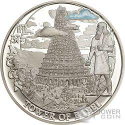 TOWER OF BABEL Torre Di Babele Biblical Stories Moneta Argento 2$ Palau 2016
