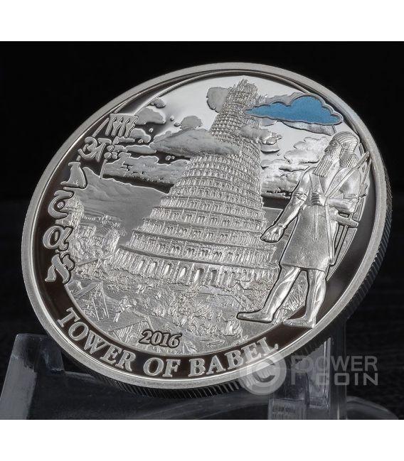 TOWER OF BABEL Biblical Stories Серебро Монета 2$ Палау 2016