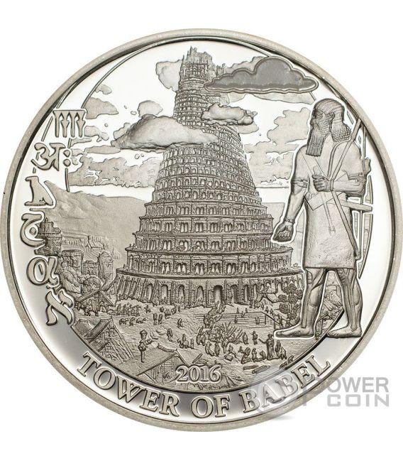 TOWER OF BABEL Biblical Stories Moneda Plata 2$ Palau 2016