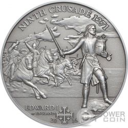 CROCIATA 9 Edward I of England Edoardo Plantageneto Moneta Argento 5$ Cook Islands 2016