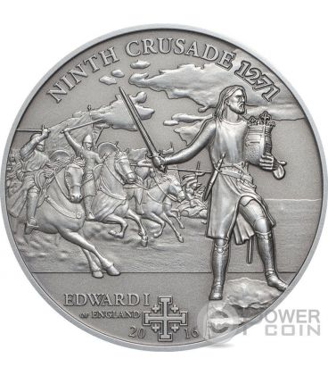 CROCIATA 9 Edward I of England Edoardo Plantageneto Moneta Argento 5$ Cook Islands 2016