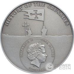 CRUSADE 9 Edward I of England Silver Coin 5$ Cook Islands 2016