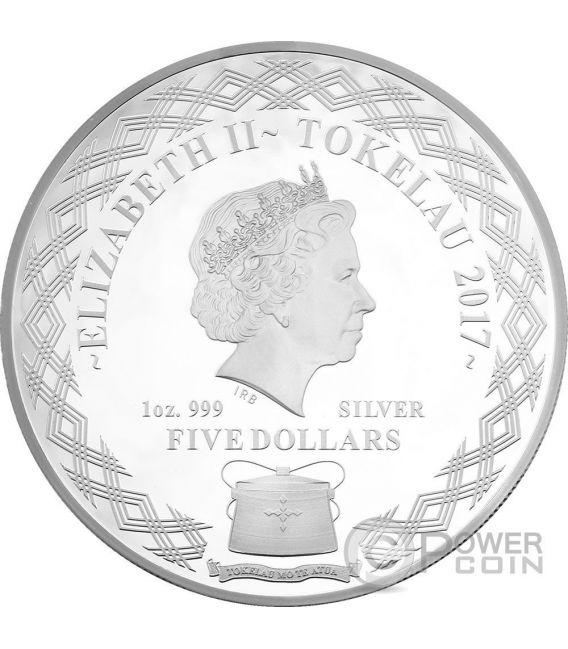MIRROR ROOSTER Gallo Lunar Serie 1 Oz Moneta Argento 5$ Tokelau 2017
