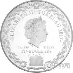 MIRROR ROOSTER Lunar Year Series 1 Oz Moneda Plata 5$ Tokelau 2017