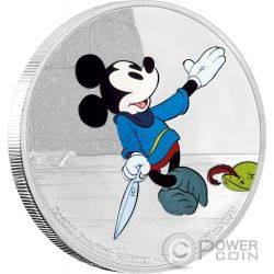 BRAVE LITTLE TAILOR Mickey Through The Ages Disney 1 Oz Moneda Plata 2$ Niue 2016