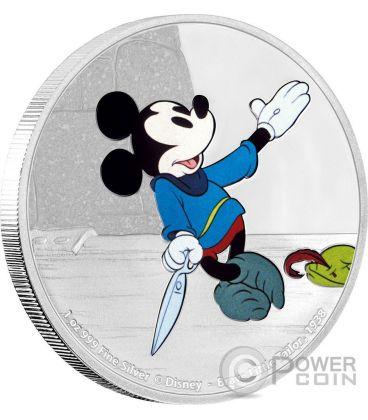 BRAVE LITTLE TAILOR Topolino Mickey Through The Ages Disney 1 Oz Moneta Argento 2$ Niue 2016