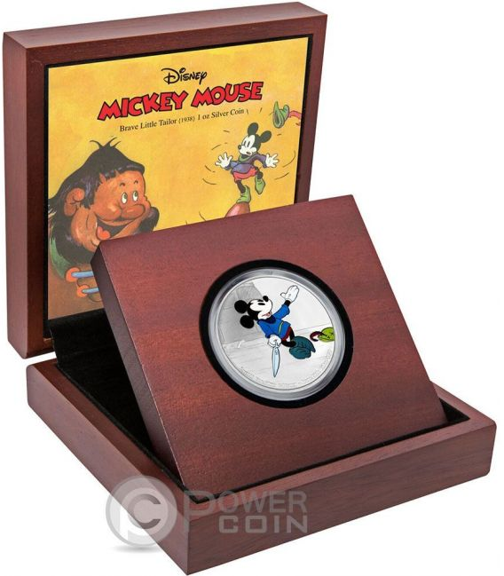 BRAVE LITTLE TAILOR Topolino Mickey Through The Ages Disney 1 Oz Moneta Argento 2$ Niue 2016