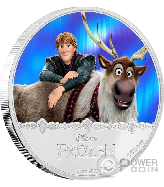 KRISTOFF AND SVEN Disney Frozen Magic of the Northern Lights 1 Oz Silber Münze 2$ Niue 2016