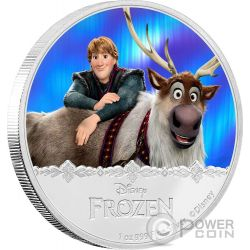 KRISTOFF AND SVEN Disney Frozen Magic of the Northern Lights 1 Oz Moneta Argento 2$ Niue 2016