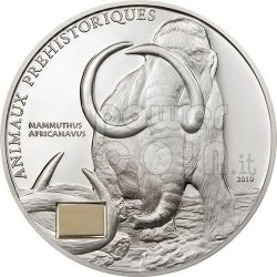 MAMMOTH Prehistoric Animals Moneda Plata 1000 Francs Ivory Coast 2010