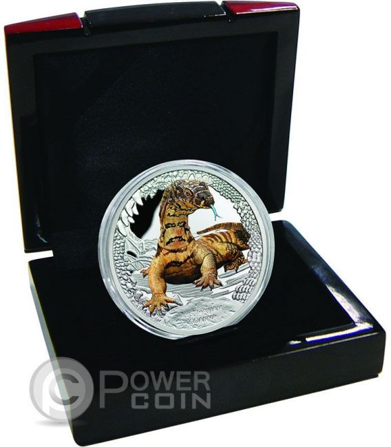 AUSTRALIAN GOANNA Remarkable Reptiles 1 Oz Silber Proof Münze 1$ Tuvalu 2016