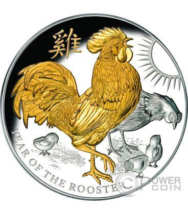 GALLO Rooster Anno Lunare 5 Oz Moneta Argento 8$ Niue 2017