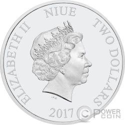 ROOSTER Gilded Lunar Year Series 1 Oz Moneda Plata 2$ Niue 2017