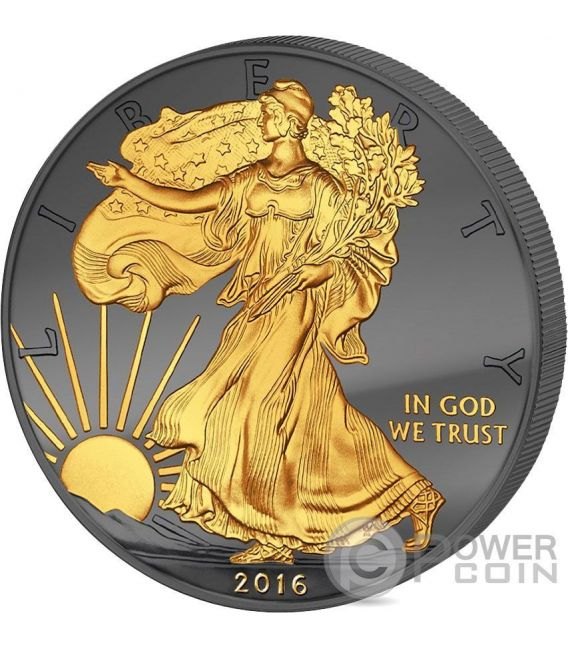 GOLDEN ENIGMA Walking Liberty Black Ruthenium 1 Oz Moneda Plata 1$ Dollar US Mint 2016