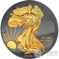 GOLDEN ENIGMA Walking Liberty Nera Rutenio Moneta Argento 1$ Dollar US Mint 2016
