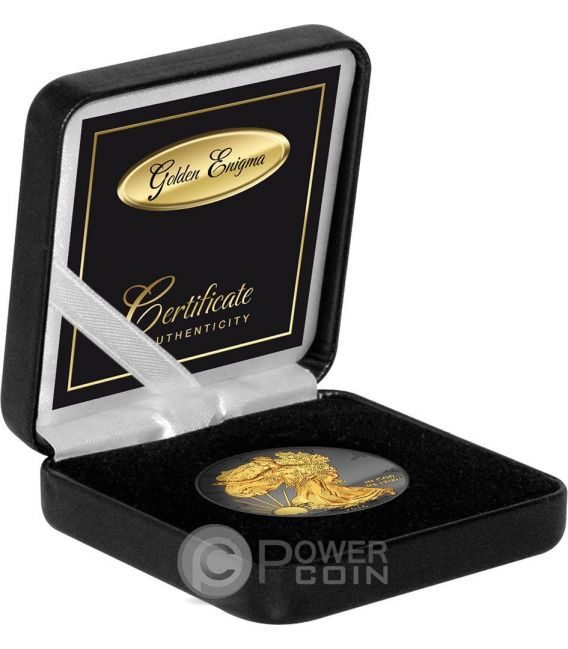 GOLDEN ENIGMA Walking Liberty Black Ruthenium 1 Oz Silver Coin 1$ Dollar USA 2016