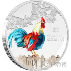 ROOSTER Lunar Year Series Colored 1 Oz Silber Münze 2$ Niue 2017