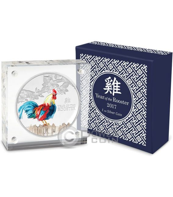 ROOSTER Lunar Year Series Colored 1 Oz Silver Coin 2$ Niue 2017