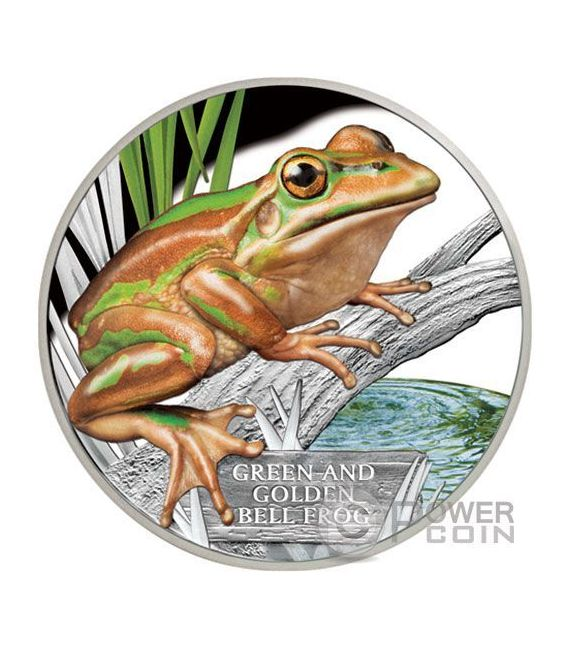 GREEN AND GOLD BELL FROG Extinct Endangered 1 Oz Silver Coin 1$ Tuvalu 2017
