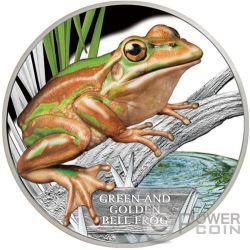 GREEN AND GOLD BELL FROG Extinct Endangered 1 Oz Moneda Plata 1$ Tuvalu 2017