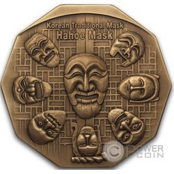 KOREAN MASK Maschera Coreana Hahoe Dance Drama Bronze Medal Medaglia Traditional Korean Mint