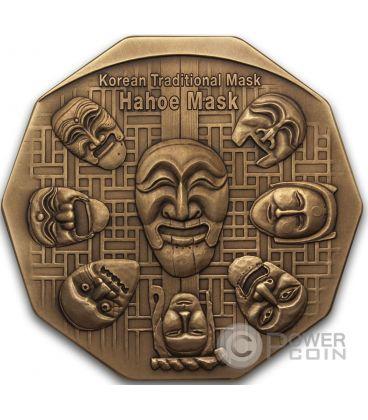 KOREAN MASK Maschera Coreana Hahoe Dance Drama Bronze Medal Medaglia Traditional Korean Mint