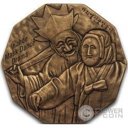 KOREAN MASK Hahoe Dance Drama Bronze Medal Traditional Korean Mint Южная Корея